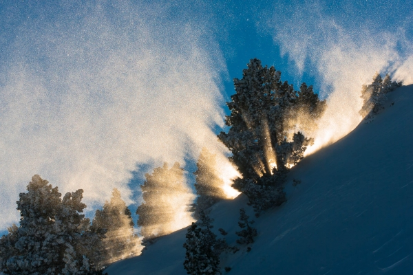 A Burst of light through blowing snow in the Vercors Massif (Alps, France)