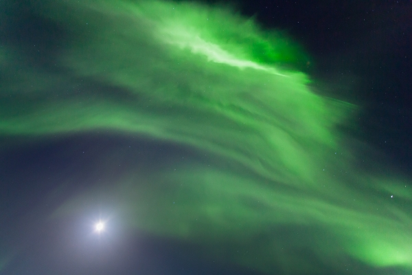 Northern Lights and full moon