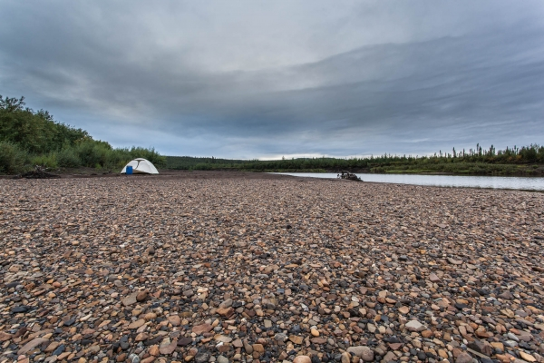 Our camp on a gravel bar along the Eagle River
