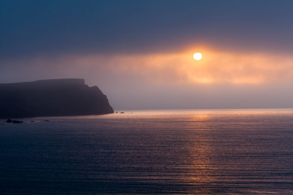 Sunset on the Atlantic coast Shetland