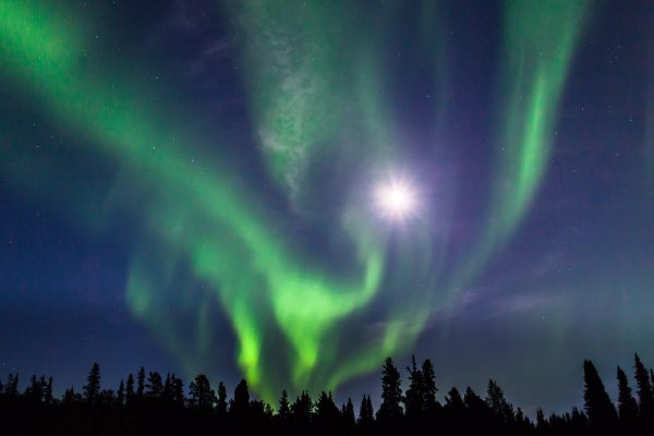 Northern Lights and Full Moon (Yukon, Canada)
